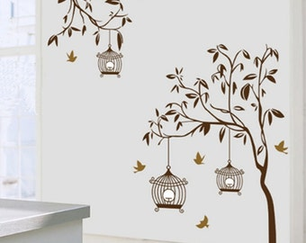 Branches and Birdcage Vinyl Wall Art / Mural