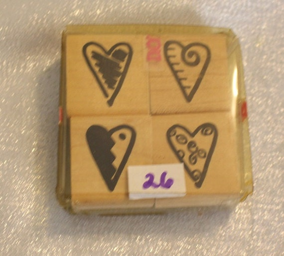 Four Scribble Heart stamps by JRL Designs, Vintage Rubber ...