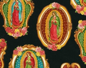 Virgin of Guadalupe fabric by Robert Kaufman from Inner Faith, black background