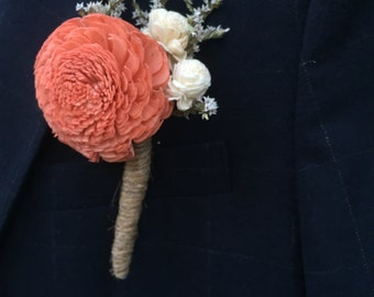 Sola Flowers: Coral Sola Flower Boutonniere