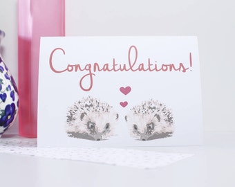 Congratulations Wedding Hedgehog Card