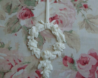 New! Shabby & Chic Bow Rose Wreath Drop/Center Furniture Applique Architectural Onlay Embellishment
