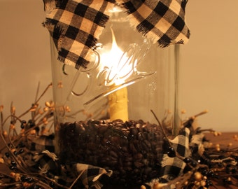 1 Gallon Ball Jar Electric Candelabra Light with Pip Berry Ring