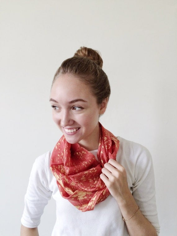 Orange Scarf-Gold Scarf-Infinity Scarf-Silk-Scarf-Scarves-Scarves for Fall-Scarves for Summer--Scarves for Spring-Holiday Gift-Gift for My
