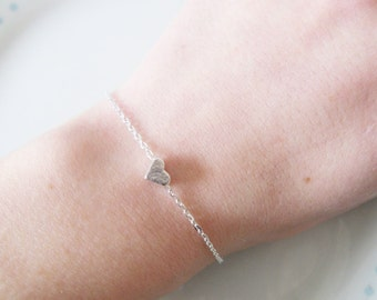 Cute Tiny Heart Charm Chain Silver Bracelet, Dainty, Pretty, Layer, Love, Simple, Minimalist