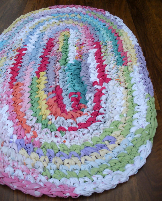 Crochet Kitchen Rugs: 36x22 Rainbow Rug Hand Crocheted Oval Rag Rug