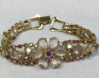 Gorgeous Vintage Rhinestone Flower Bracelet-Free shipping