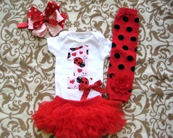 Lady Bug Birthday Outfit, Pink Red Black Ladybug bodysuit/Diaper cover/Headband/Legwarmers, Little Lady Bug Birthday Pictures,First Birthday