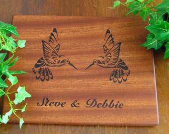 Hummingbird, Personalized Cutting Board, Custom Engraved, Mahogany, Wedding Gift, Housewarming Gift, Anniversary Gift, Birthday Gift