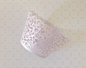 Lilac lavender light purple lace wedding party cupcake liners