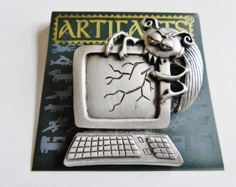 JJ Jonette Computer Bug Brooch Pin