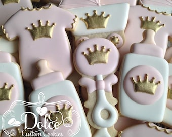 Little Princess Royal Crown Gold or Silver Baby Shower Cookies