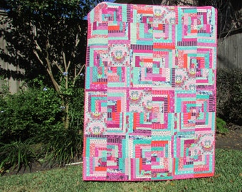 Geometric Quilt | Modern Quilt Throw | Handmade Quilt | Pink and Aqua Quilt | Lap Quilt | Log Cabin Quilt