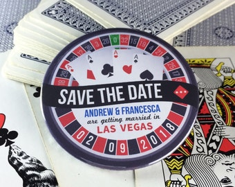 Wedding Save The Date Magnets Las Vegas/ Roulette Wheel Design Complete With Organza Bags