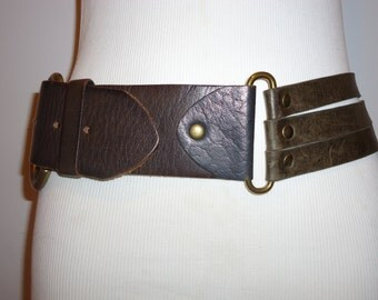 Vintage Linea Pelle Gray Leather Belt, Sz. S.