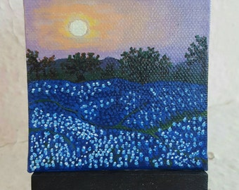 Texas Bluebells. Free easel and shipping with purchase.