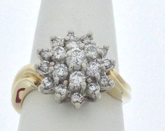 Natural Diamond Cluster Ring Solid 14kt Yellow & White Gold