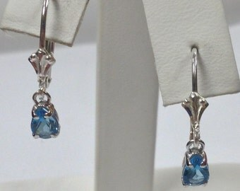 Natural Blue Topaz Dangle Earrings 925 Sterling Silver