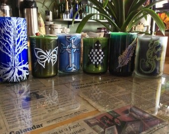 Handpainted, scented candles