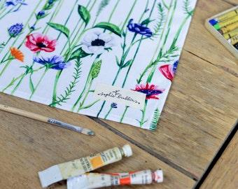 Meadow Floral Print Cotton Tea Towel