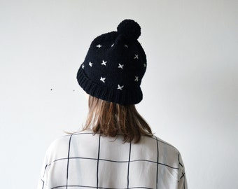 CRISS-CROSS/ hand knitted black color hat with cross embroidery natural wool hat black and white minimalistic pom pom hat