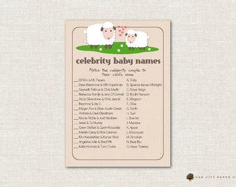 Celebrity Baby Shower Game - Lamb Celebrity Baby Name Game, Celebrity Baby Name Quiz, Celebrity Baby Match Game, Sheep, Little Lamb, DIY