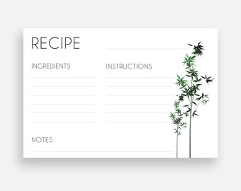 Printable recipe cards 3x5 and 4x6, bamboo, minimalist, black and white, simple, zen