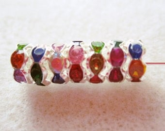19 - Silver Plated 8mm Multi Colored Rondelle Spacers