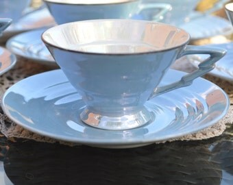 Iconic Art Deco Demitasse M Bavaria Germany - Pale Blue Pearl Lustre -Conical Footed Stepped Shape with Lightening Bolt Handle