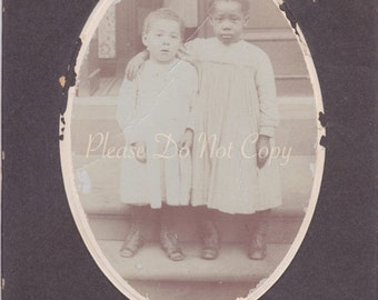 Best Friends -   African American Little Girl Cabinet Card