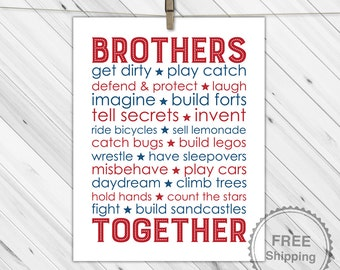 Twin Boys Nursery art, Brothers Subway decor, Boys bedroom decor, brothers wall art, children's prints