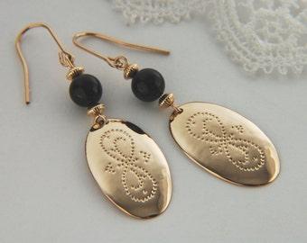 Gold Drop Earrings Textured Earrings Gold Artisan Earrings Black Onyx Earrings Hammered Earrings