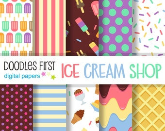 Ice Cream Shop Digital Paper Pack Includes 10 for Scrapbooking Paper Crafts