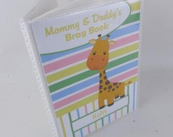 Baby Photo Album Girl photo book Grandmas Brag Book Personalized Giraffe Baby Shower Gift 4x6 or 5x7 516