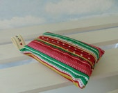 Pocket Tissue Holder Festive Stripes Red Polka lining