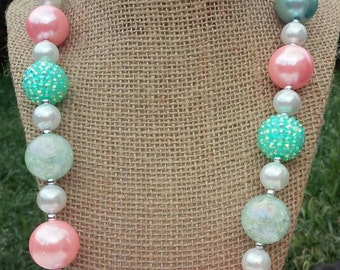 Pink Rose Necklace, Aqua Pearl Necklace, Chunky Bead Necklace