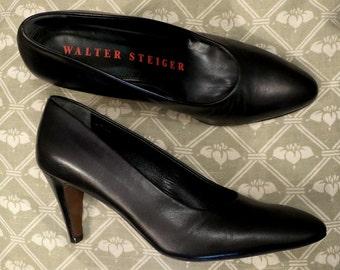 WALTER STEIGER shoes black leather, size 35.5