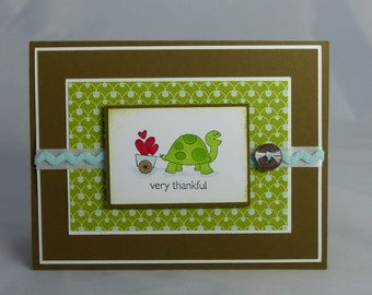 Stampin Up Handmade Greeting Card:  Teacher Appreciation, Thank You Card, Thanks, Turtle, Husband, Wife, Friend, Sister, Daughter Son Child