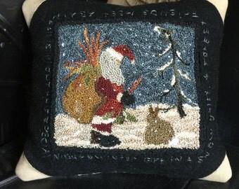 "Punchneedle pattern "" 10 Carrot Christmas""- 8.5""x 8.5"""