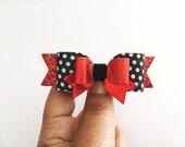 Summer Hair Clips, Disney Inspired hair bow,Glitter bow,Mickey Polka Dot bows,Baby headband,Red and black bows,handmade bows, meghanandjulie