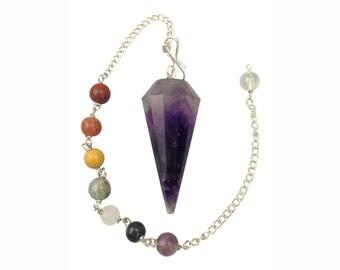 Amethyst Pendulum With Chakra Chain