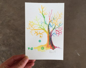 Hand-Painted Postcard, Watercolour Tree