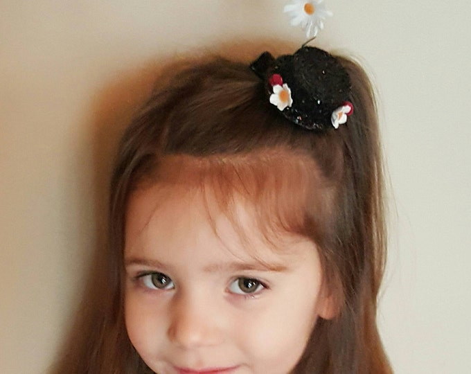 Mary Poppins Inspired Mini Glitter Hat Clips || Disney Bound || Mini Clip || Hair Clip || Poppins || Mary Poppins hat