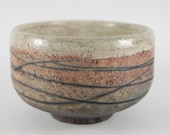 Raku Tea Bowl Chawan with Dark Stripes Handmade coffee mug pottery