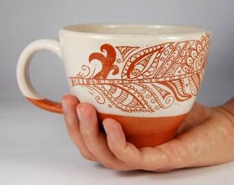 Huge handmade Pottery Mug, Coffee Mug, Sgraffito cup,feather ornament,soup bowl, Lithuanian red earthenware