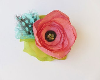 Flower Feather Hair Clip. Rose pink and turquoise feathers