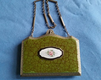 Antique Marathon Silver Plated Enamel Guilloche Compact Dance Purse