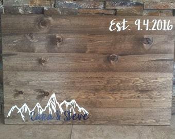 Rustic Pallet Wooden Guestbook Mountain Alternative Wedding Guest Book