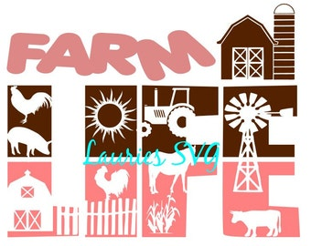 Farm life file- svg,png,jpg and  silhouette