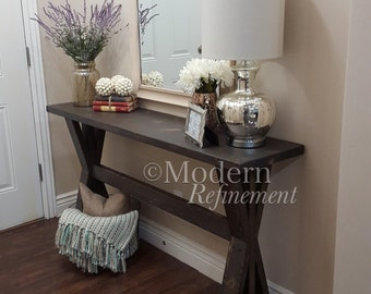 The Sawyer Rustic Farmhouse Entryway Table, Farmhouse Table, Console Table,  Buffet Table.